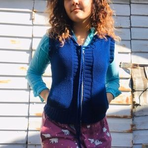 Vibrant Blue Free People Knitted Vest and Hood